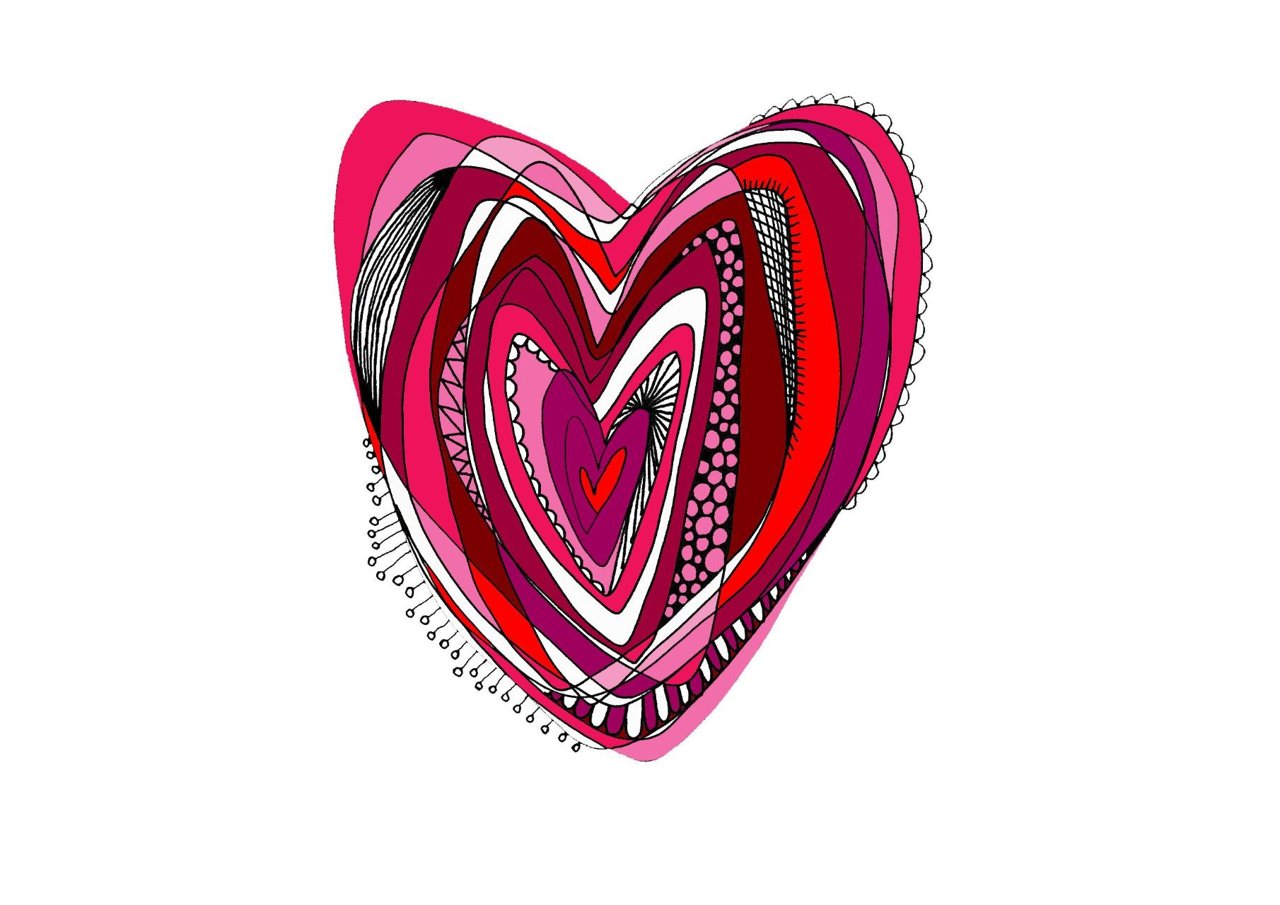 Pink and red heart Greeting Card