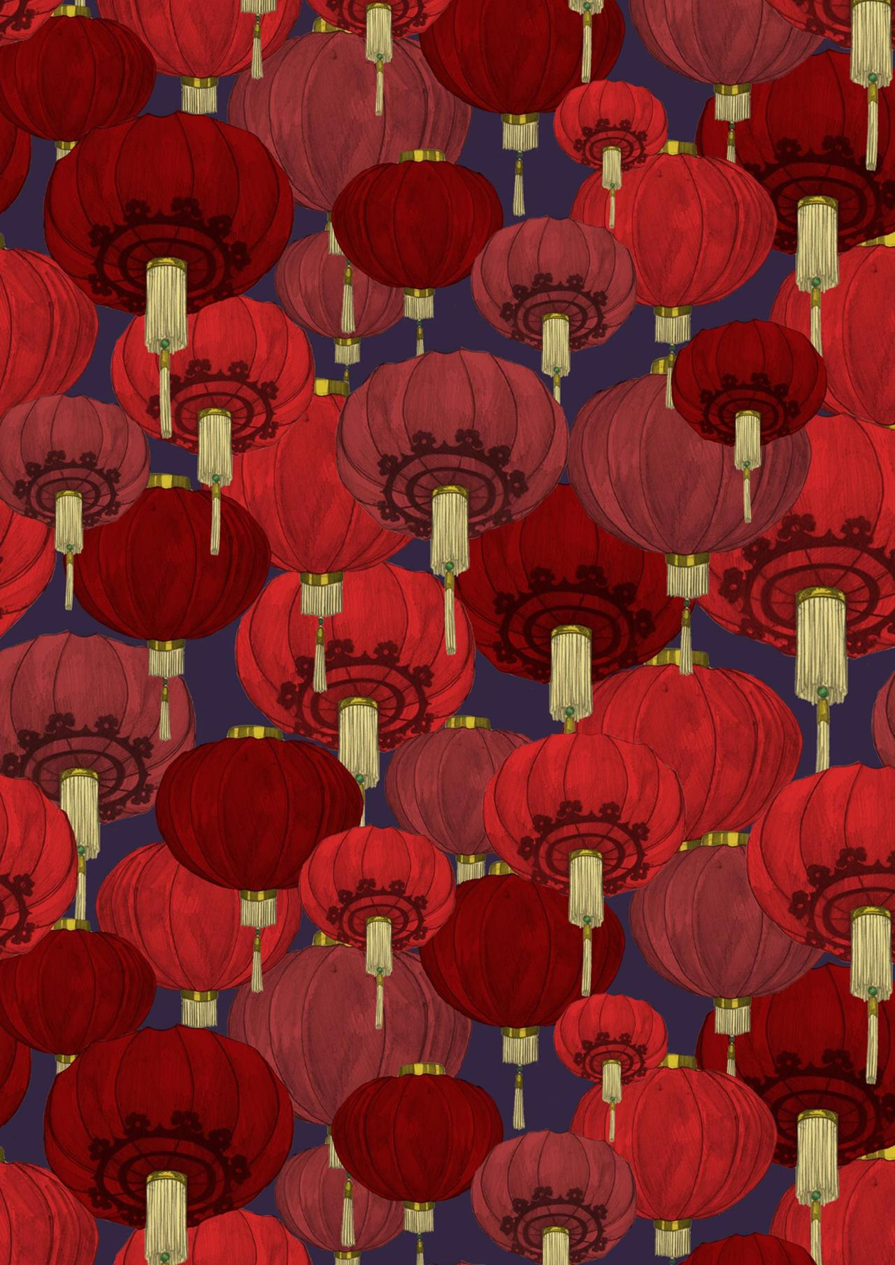 Round Chinese Lanterns in Red, purple and Pink