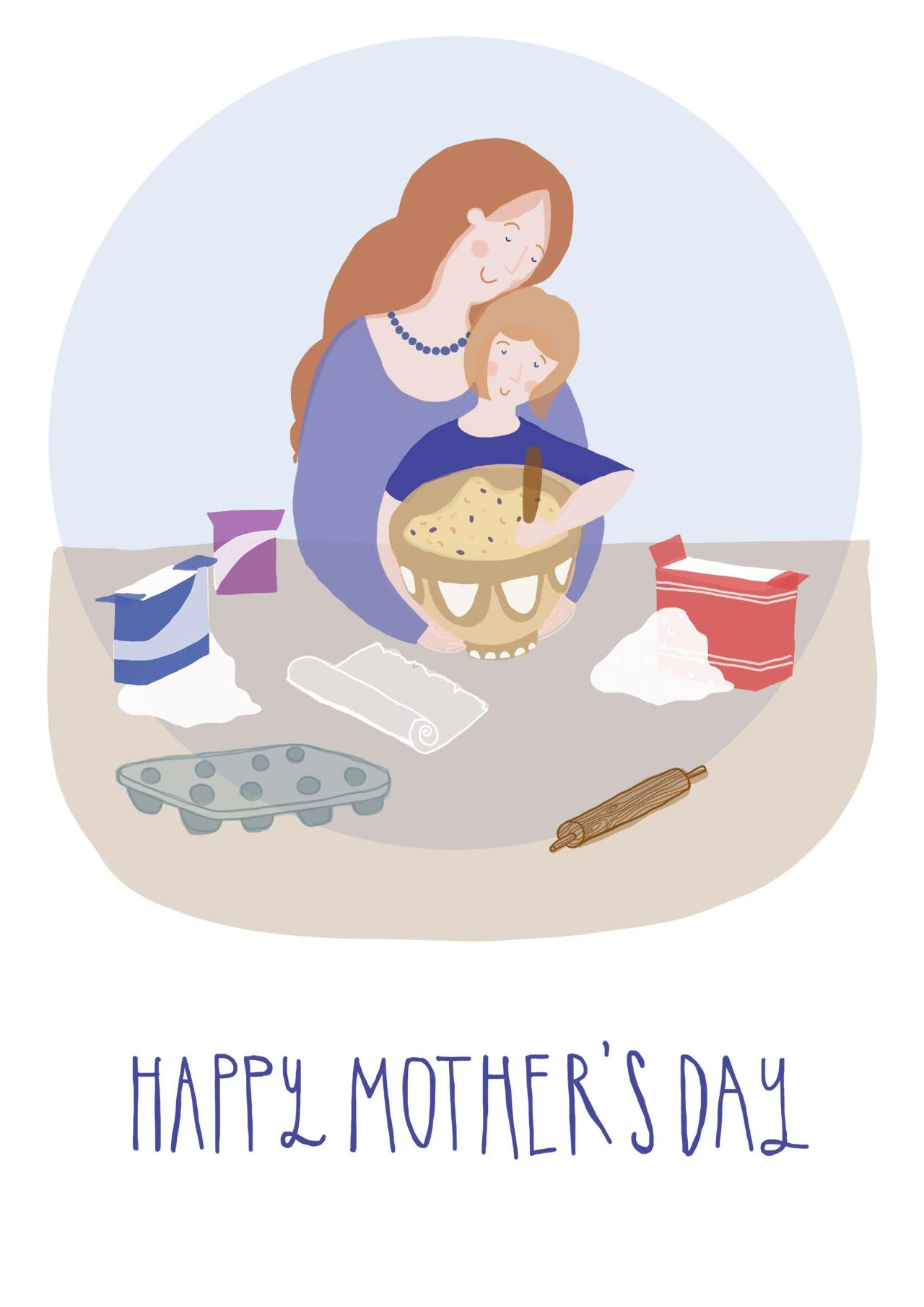 Card showing mum baking with child