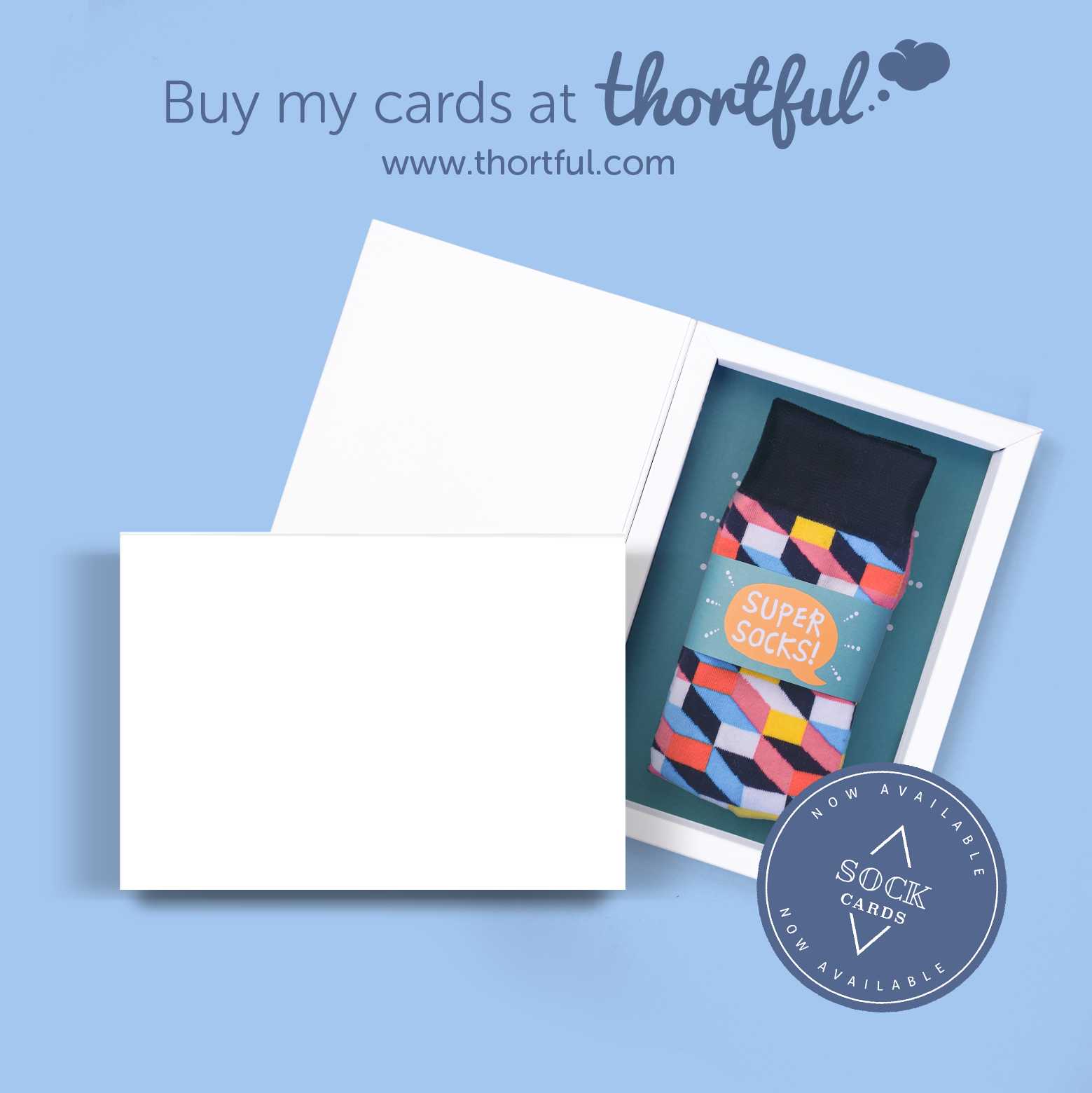 Sock card blue landscape