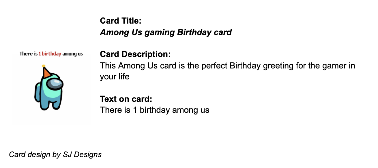 Example card and card details