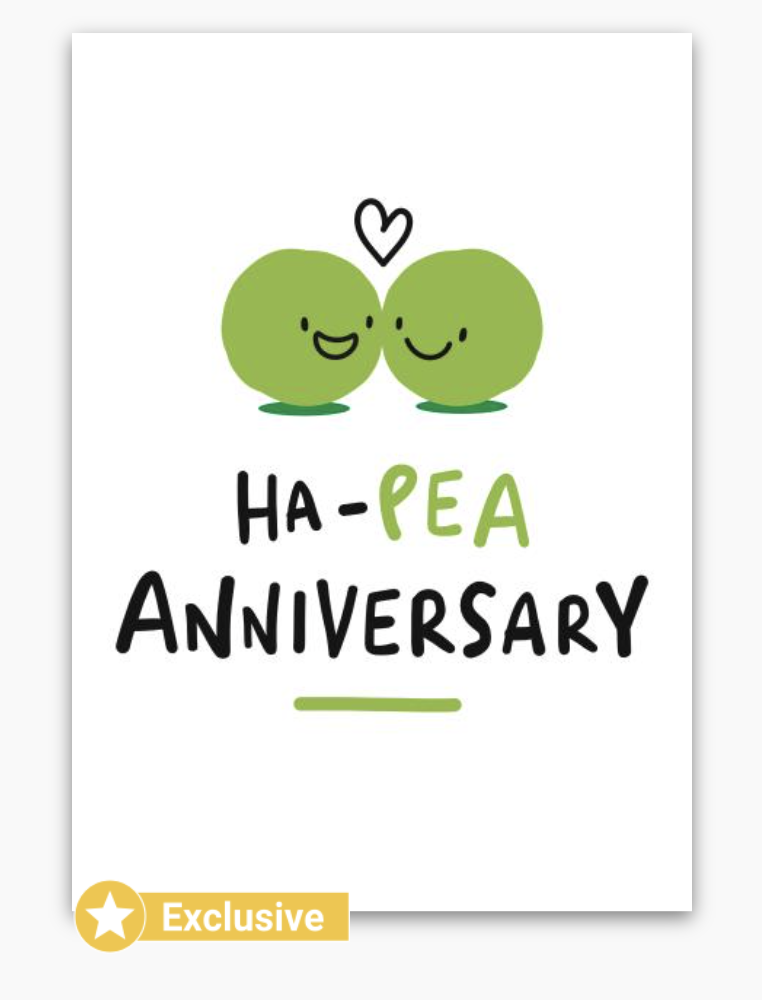 Ha-pea birthday card with Exclusive badge